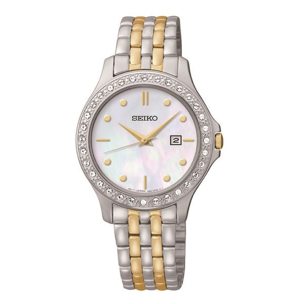 Seiko Women's SXDF91 Dress Mother-Of-Pearl Dial Two-Tone Swarovski Watch
