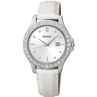 SEIKO Women's SXDF93 Dress White Dial Stainless Steel Austrian Crystal Watch