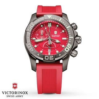 Swiss Army Men's Dive Master 500 Chrono Red Dial Watch - 241422