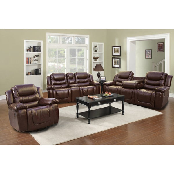 Mesa Brown Bonded Leather 3 Piece Sofa Set Overstock Shopping
