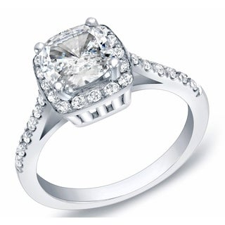 Auriya 14k Gold 1 3/4ct TDW Certified Cushion Cut Diamond Engagement Ring (H-I, SI1-SI2)