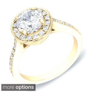 Auriya 14k Gold 1 3/5ct TDW Certified Round Halo Diamond Engagement Ring (H-I, SI1-SI2)