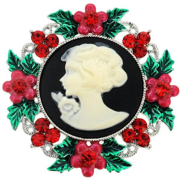 Red Gemstone Christmas Wreath Cameo Pin Brooch