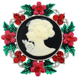 Red Gemstone Christmas Wreath Cameo Pin Brooch