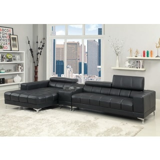 Furniture of America 'Bourlette' Black Bonded Leather 2-piece Sectional