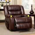 Furniture of America Plushore Bonded Leather Match Recliner with Duo Cup Holders