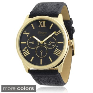 Geneva Platinum Faux Leather Band Quartz Watch