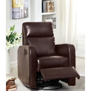 Furniture of America Lewton Plush Bonded Leather Swivel Glider Recliner