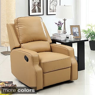 Furniture of America Piker Plush Cushion Leatherette Recliner