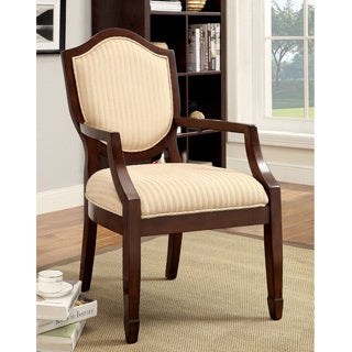 Furniture of America Alfie Walnut/ Beige Stripe Fabric Accent Chair