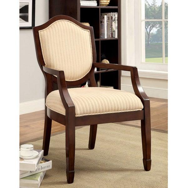 Furniture of America Alfie Walnut/ Beige Stripe Fabric Accent Chair