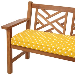 Yellow Dots 60-inch Indoor/ Outdoor Corded Bench Cushion