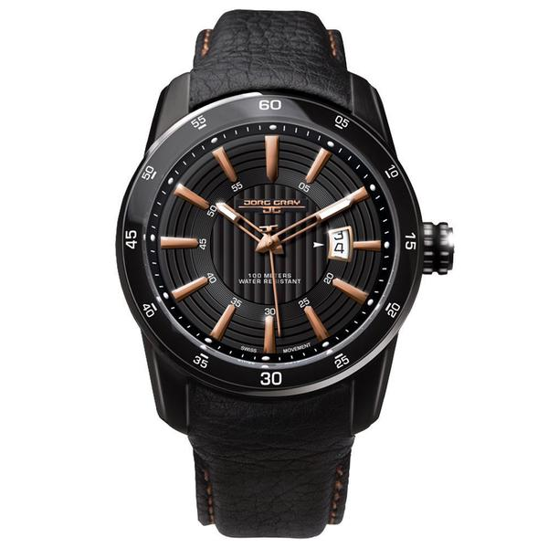 Jorg Gray Men's Textured Black Analog Leather Strap Watch
