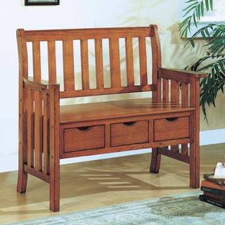 Oak Mission 3-drawer Storage Bench