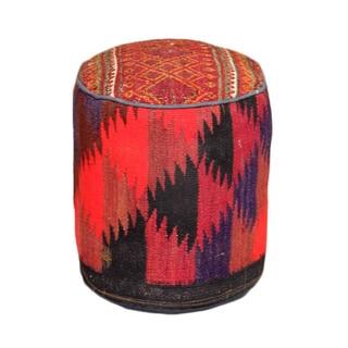 Handmade Kilim 17-inch Multicolored Wool Pouf Ottoman