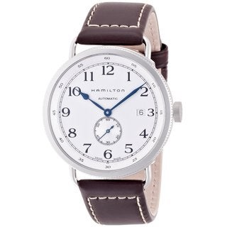 Hamilton Men's 'Pioneer' Brown Leather Strap White Dial Watch