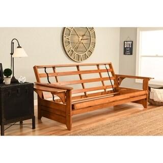 Somette Ali Phonics Multi-flex Honey Oak Full-size Wood Futon Frame