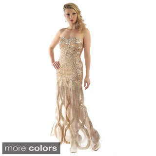 Daniella Couture Women's Beaded with Rhinestone and Mesh Gown