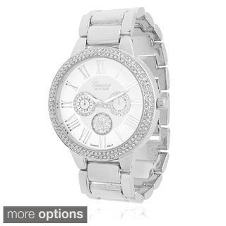 Geneva Platinum Women's Stainless Steel Cubic Zirconia Link Watch