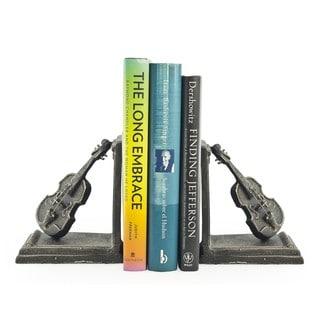Violin Iron Bookend Set