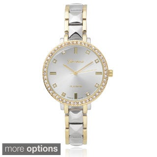 Geneva Platinum Women's Rhinestone Accent Metal Link Watch