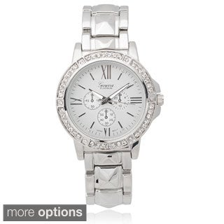 Geneva Platinum Women's Rhinestone Metal Link Watch