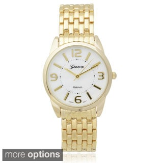 Geneva Platinum Women's Basketweave Metal Link Watch