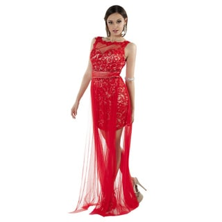 Daniella Couture Red High and Low Lace and Rhinestone Dress