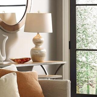 Kirkham 1-light Champagne Ribbed Ceramic Table Lamp