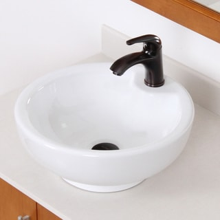 Elite White Grade A Ceramic Bathroom Vessel Sink with Oil Rubbed Bronze Faucet