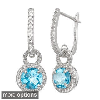 Gioelli Jenne Sterling Silver Gemstone and White Sapphire Accent Latchback Earrings