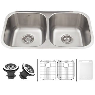 VIGO 32-inch Undermount Stainless Steel 18 Gauge Double Bowl Kitchen Sink