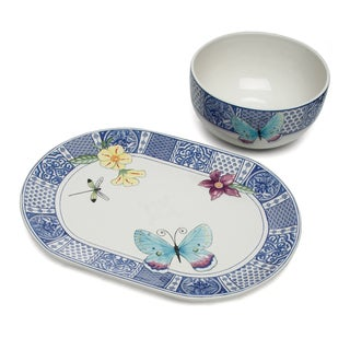 Fitz and Floyd Courtyard Serving Bowl and Platter Set