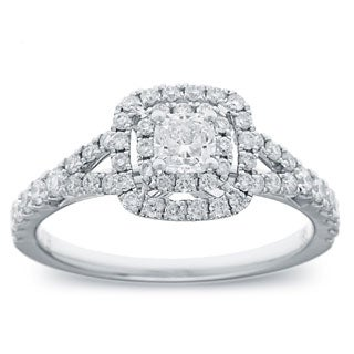 14k White Gold 1ct TDW Cushion Diamond Double Halo Engagement Ring (G-H, SI2-I1)