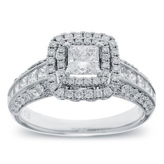 14k White Gold 1 1/2ct TDW Princess-cut Diamond Double Halo Engagement Ring (G-H, SI2-I1)