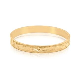 Gioelli 14k Yellow Gold Beveled Satin Bangle Bracelet