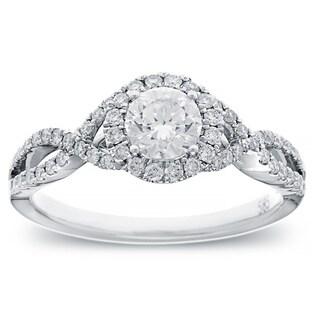 14k White Gold 4/5ct TDW Round-cut Diamond Halo Engagement Ring (G-H, SI2-I1)
