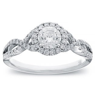14k White Gold 4/5ct TDW Round-cut Diamond Halo Engagement Ring (G-H, SI2-I1)