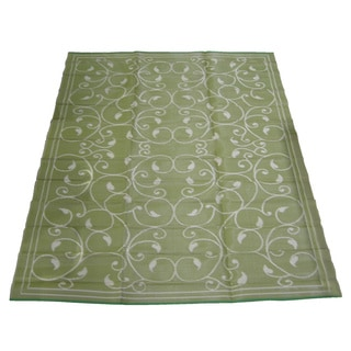 Royal Sun Sage/ White Scroll Reversible Patio Mat (9' x 12')