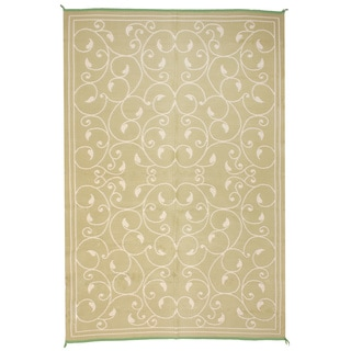 Royal Sun Sage/ White Scroll Reversible Patio Mat (6' x 9')