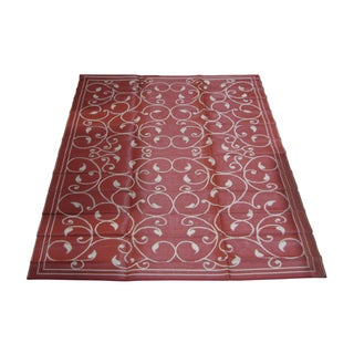Royal Sun Terracotta/ White Scroll Patio Mat (9' x 12')