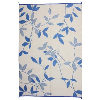 Royal Sun Blue/ White Leaf Reversible Patio Mat (6' x 9')