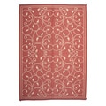 Royal Sun Terracotta/ White Scroll Reversible Patio Mat (6' x 9')