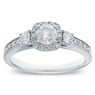 14k White Gold 1ct TDW Round Diamond Halo Engagement Ring (G-H, SI2-I1)