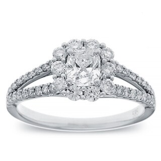 14K White Gold 1 1/10 TDW Cushion Diamond Halo Engagement Ring