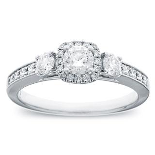 14k White Gold 4/5ct TDW Round Diamond Halo Engagement Ring (G-H, SI2-I1)