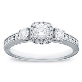 14k White Gold 4/5ct TDW Round Diamond Halo Engagement Ring (G-H, SI2-I1)