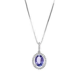 14k White Gold 1/6ct TDW Diamond Oval Tanzanite Halo Pendant Necklace (H-I, SI1-SI2)