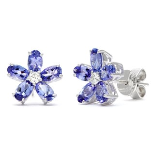 Kabella 18k White Gold 1/8ct TDW Diamond Tanzanite Flower Stud Earrings (H-I, SI1-SI2)