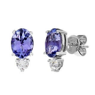 Kabella 18k White Gold Oval Tanzanite 2/5ct TDW Diamond Classic Stud Earrings (G-H, VS1-VS2)